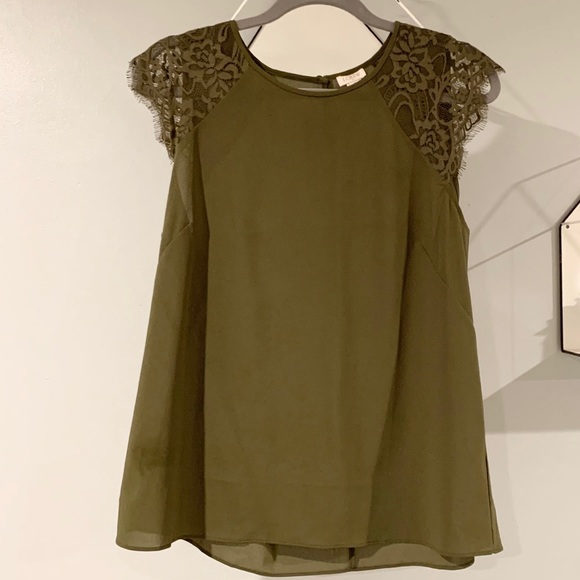 J Crew Army Green Sleeveless Top with Lace Detail